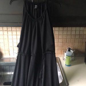 H&M 100% black polyester maxi dress